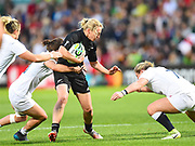 New Zealand player Kelly Brazier gets tackled on a break in the first half during the Women's Rugby World Cup 2017 match between England Women and New Zealand Women at Kingspan Stadium, Belfast, Northern Ireland on 26 August 2017. Photo by Ian  Muir.