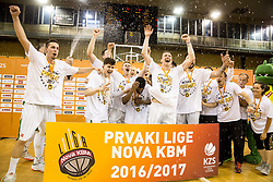 Players of KK Union Olimpija celebrate after wining during basketball match between KK Union Olimpija and KK Rogaska in 4th Final game of Liga Nova KBM za prvaka 2016/17, on May 24, 2017 in Hala Tivoli, Ljubljana, Slovenia. Photo by Vid Ponikvar / Sportida