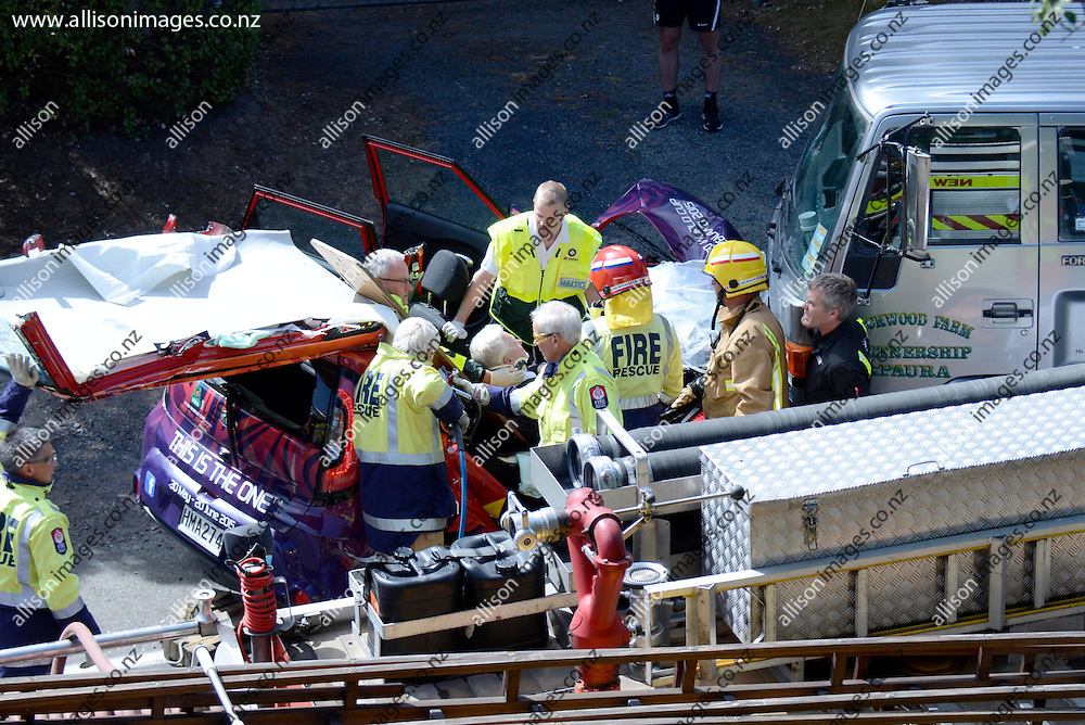 A general view of a Car V Truck accident, on State Highway 1, at East Taieri, Dunedin, New Zealand, 12 February 2015. Credit: Joe Allison / allisonimages.co.nz A general view of a Car V Truck accident, on State Highway 1, at East Taieri, Dunedin, New Zealand, 12 February 2015. Credit: Joe Allison / allisonimages.co.nz