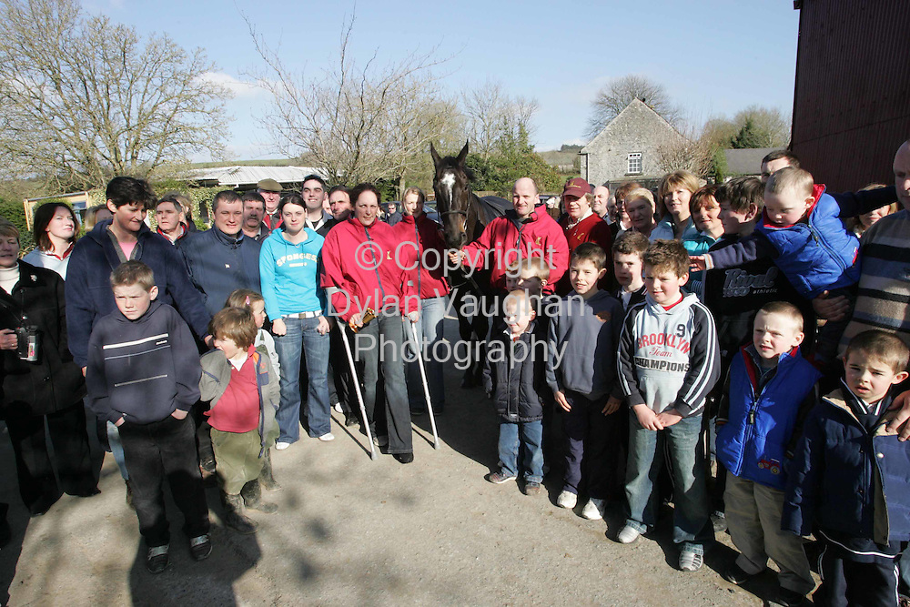 19/3/2006.The crowd pictured at Mouse Morris's home in Fethard yesterday with War of Attrition..Picture Dylan Vaughan.