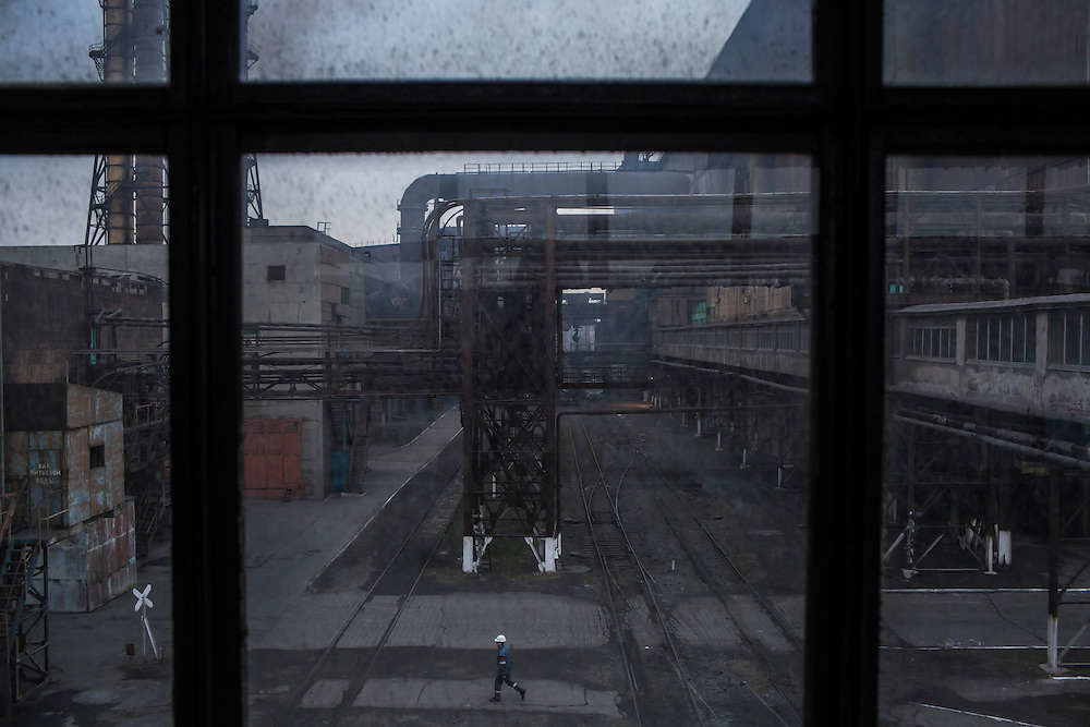 A worker at the Azovstal Iron and Steel Works on Friday, March 18, 2016 in Mariupol, Ukraine.
