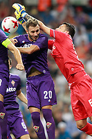 ACF Fiorentina's German Pezzella (l) and Marco Sportiello during Santiago Bernabeu Trophy. August 23,2017. (ALTERPHOTOS/Acero)