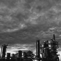 A dramatic view of the day's last light striking structures at Gasworks Park in Seattle, Washington.