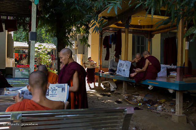 Monks read the daily papers at Ashin Wirathu's compound in Masoleyn monastery , Mandalay. The followers of the highly politicised Nationalistic monk daily reading material is not just on the teachings of Buddha. Mandalay, 25th November, 2016.