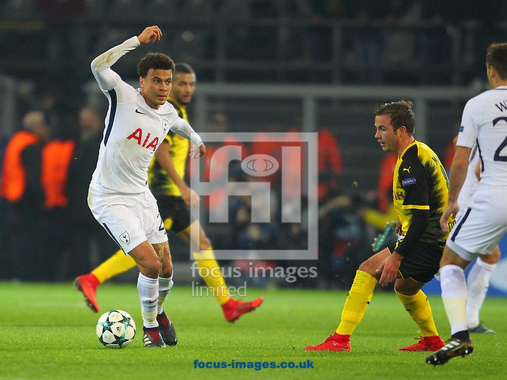 Mario Gotze of Borussia Dortmund and Dele Alli of Tottenham Hotspur during the UEFA Champions League match at Signal Iduna Park, Dortmund<br /> Picture by Yannis Halas/Focus Images Ltd +353 8725 82019<br /> 21/11/2017