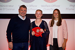 NEWPORT, WALES - Saturday, May 19, 2018: Zoe Smith is presented with her Under-16's cap by Osian Roberts (left) and Lauren Dykes (right) during the Football Association of Wales Under-16's Caps Presentation at the Celtic Manor Resort. (Pic by David Rawcliffe/Propaganda)