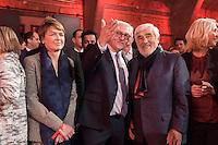 11 FEB 2017, BERLIN/GERMANY:<br /> Elke Buedenbender (L), Ehefrau von Steinmeier, Frank-Walter Steinmeier (M), SPD, Kandidat fuer das Amt des Bundespraesidenten, und Mario Adorf, Schauspieler, (v.L.n.R.), waehrend einem Empfang der SPD anl. der Bundesversammlung, Westhafen Event und Convention Center<br />  IMAGE: 20170211-03-024<br /> KEYWORDS: Elke Büdenbender