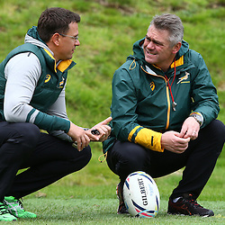 LONDON, ENGLAND - OCTOBER 14: Pieter Kruger with Heyneke Meyer (Head Coach) of South Africa during the South African national rugby team training session at Pennyhill Park on October 14, 2015 in London, England. (Photo by Steve Haag/Gallo Images)