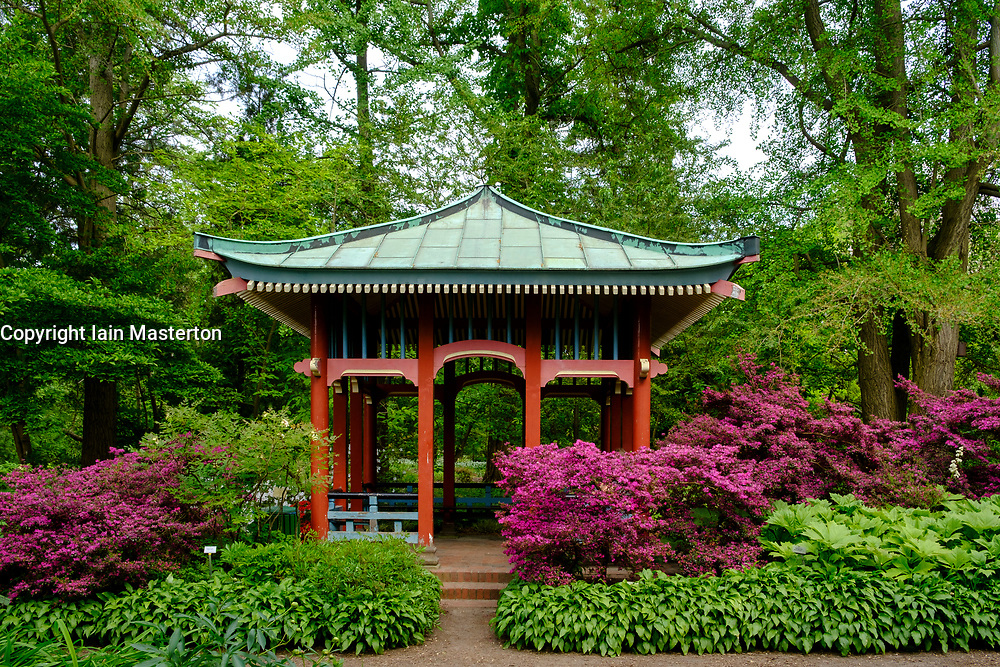 Asian style pavilion  at Berlin Botanical Garden in Dahlem, Berlin, Germany