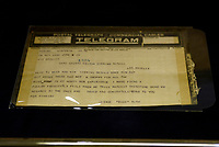 20013: Babe Ruth Bat telegram on display at Sotheby's Los Angeles, CA.  MLB baseball history.