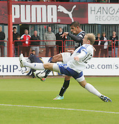 Peterhead's Brian Gilfillan can't stop Dundee's Luka Tankulic completing the scoring - Dundee v Peterhead, League Cup at Dens Park<br /> <br />  - &copy; David Young - www.davidyoungphoto.co.uk - email: davidyoungphoto@gmail.com