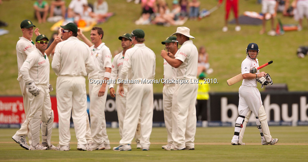 Ian Bell looks back after being bowled by Dale Steyn during the fourth and final Test Match between South Africa and England at the Wanderers Stadium, Johannesburg. Photograph © Graham Morris/cricketpix.com (Tel: +44 (0)20 8969 4192; Email: sales@cricketpix.com)