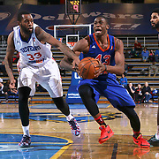 Westchester Knicks Forward Thanasis Antetokounmpo (43) drives towards the basket as Delaware 87ers Forward Kenny Hall (33) defends in the second half of a NBA D-league regular season basketball game between the Delaware 87ers and the Westchester Knicks (New York Knicks) Wednesday, Feb. 17, 2015 at The Bob Carpenter Sports Convocation Center in Newark, DEL.<br />