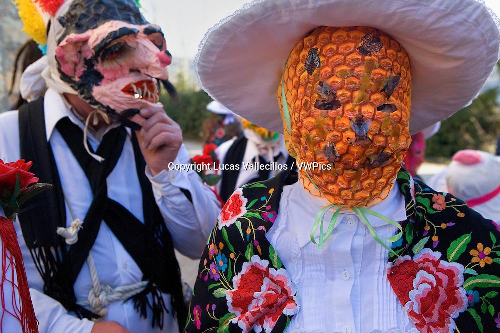 Mascarita and Botarga. Carnival, Almiruete. Tamajon, Guadalajara province, Castilla-La Mancha, Spain