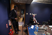 The Blue Note  Count Bassie Orchestra Back stage in the  waiting room  Cleave Guyton warming up o his Alto Sax.