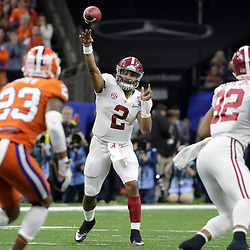 Jan 1, 2018; New Orleans, LA, USA; Alabama Crimson Tide quarterback Jalen Hurts (2) passes the ball during the first quarter against the Clemson Tigers in the 2018 Sugar Bowl college football playoff semifinal game at Mercedes-Benz Superdome. Mandatory Credit: Derick E. Hingle-USA TODAY Sports