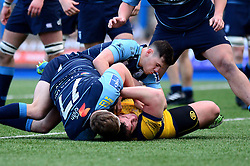 Val Rapava Ruskin of Worcester Warriors is challenged by Corey Domachowski of Cardiff Blues - Mandatory by-line: Dougie Allward/JMP - 04/02/2017 - RUGBY - BT Sport Cardiff Arms Park - Cardiff, Wales - Cardiff Blues v Worcester Warriors - Anglo Welsh Cup