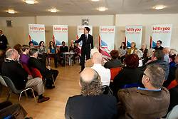 © Licensed to London News Pictures.02/04/2012. Birmingham, UK. Labour Party Leader Ed Miliband launched Labour's Local Election Campaign in Birmingham earlier today. Pictured a large crowd packed into the conference room to hear Ed Miliband speak. Photo credit : Dave Warren/LNP