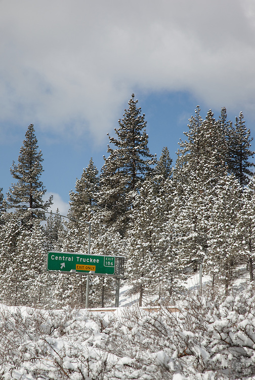 """Central Truckee Freeway Offramp Sign"" - This Hwy 80 freeway offramp sign was photographed in beautiful, snowy Truckee, CA."