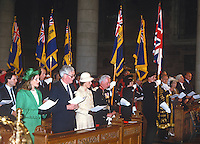 Princess Anne on a May 1985 Royal Visit to N Ireland is pictured at St Anne's Cathedral, Belfast, N Ireland. The occasion was a VE Day service in which British Legion standard bearers participated. Also in the photo are  Leonora Anson, Countess of Lichfield, Douglas Hurd, Secretary of State for N Ireland, and Lord Glentoran, Lord Lieutenant for Belfast. 19850502b<br /> <br /> Copyright Image from Victor Patterson, 54 Dorchester Park, Belfast, UK, BT9 6RJ<br /> <br /> t1: +44 28 9066 1296 (from Rep of Ireland 048 9066 1296)<br /> t2: +44 28 9002 2446 (from Rep of Ireland 048 9002 2446)<br /> m: +44 7802 353836<br /> <br /> victorpattersonbelfast@gmail.com<br /> <br /> www.victorpatterson.com<br /> <br /> Please see my Terms and Conditions of Use at https://www.victorpatterson.com/page2<br /> It is IMPORTANT that you familiarise yourself with them.<br /> <br /> Images used on the Internet incur an additional cost and must be visibly watermarked i.e. © Victor Patterson within the body of the image and copyright metadata must not be deleted. Images used on the Internet have a size restriction of 4kbs and are chargeable at rates available at victorpatterson.com.<br /> <br /> This image is available only for the use of the download recipient i.e. television station, newspaper, magazine, book publisher, etc, and must not be passed on to any third party. It is also downloaded on condition that each and every usage is notified within 7 days to victorpattersonbelfast@me.com.<br /> <br /> The right of Victor Patterson (or the named photographer) to be identified as the author is asserted in accordance with The Copyright Designs And Patents Act (1988). All moral rights are asserted.