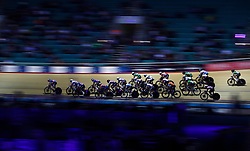 Riders take part in the Elimination Race element of the Women's Omnium, during day one of the Six Day Series at the HSBC National Cycling Centre, Manchester.