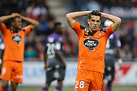 Deception Maxime BARTHELME - 18.04.2015 - Lorient / Toulouse - 33eme journee de Ligue 1<br />