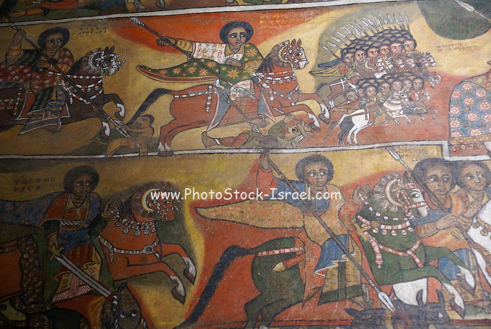 Africa, Ethiopia, Gondar Painted ceiling in the Church of Debre Birhan Selassie painting of 80 cherubic faces