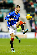 Borna Barisic (#31) of Rangers controls the ball during the Ladbrokes Scottish Premiership match between Hibernian and Rangers at Easter Road, Edinburgh, Scotland on 19 December 2018.