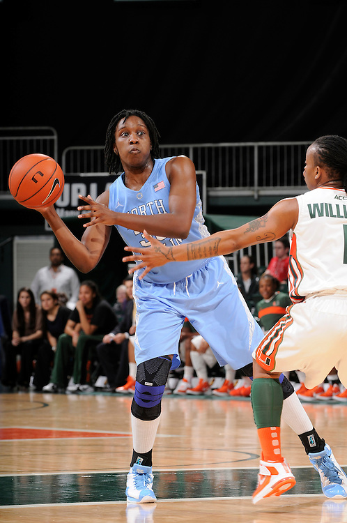 February 8, 2012: Laura Broomfield #33 of North Carolina in action during the NCAA basketball game between the Miami Hurricanes and the North Carolina Tar Heels at the Bank United Center in Coral Gables, FL. The Hurricanes defeated the Tar Heels 61-37.