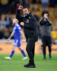 Wolverhampton Wanderers manager Nuno Espirito Santo celebrates after the Premier League match at Molineux, Wolverhampton.