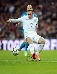 Special boot for Wayne Rooney of England (Manchester United) makes his 100th appearance for England  - Photo mandatory by-line: Joe Meredith/JMP - Mobile: 07966 386802 - 15/11/2014 - SPORT - Football - London - Wembley - England v Slovenia - EURO 2016 Qualifier
