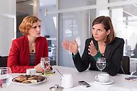 15 OCT 2019, BERLIN/GERMANY:<br /> Katja Kipping (L), Die Linke, Prteivorsitzende, und Katrin Goering-Eckardt (R), B90/Gruene, Fraktionsvorsitzende, wahrend einem Doppeninterview, Hauptstadtredaktion Rheinsche Post<br /> IMAGE: 20191015-01-002<br /> KEYWORDS: Göring-Eckardt