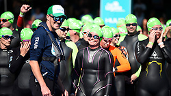 © Licensed to London News Pictures. 21/09/2019. LONDON, UK. Swimmers at the start join 6,000 participants taking part in the fourth Swim Serpentine, held in the famous lake in Hyde Park.  The event is raising thousands for Children With Cancer Charity UK as swimmers of all abilities navigate the one mile clockwise route around the lake.  Photo credit: Stephen Chung/LNP