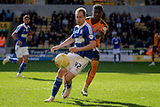 Ipswich Town striker Luke Varney plays the ball away from Wolverhampton Wanderers defender Kortney Hause during the Sky Bet Championship match between Wolverhampton Wanderers and Ipswich Town at Molineux, Wolverhampton, England on 2 April 2016. Photo by Alan Franklin.