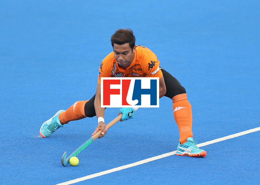 LONDON, ENGLAND - JUNE 25: Izad Jamaluddin of Malaysia attempts a shot during the 3rd/4th place match between Malaysia and England on day nine of the Hero Hockey World League Semi-Final at Lee Valley Hockey and Tennis Centre on June 25, 2017 in London, England. (Photo by Steve Bardens/Getty Images)