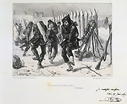 Franco-Prussian War 1870-1871.  Siege of Paris 19 Sept 1870-28 Jan 1871. Soldiers on the ramparts jumping about to keep warm. From a series of lithographs  by Clement August Andrieux on the Gardes Nationales.