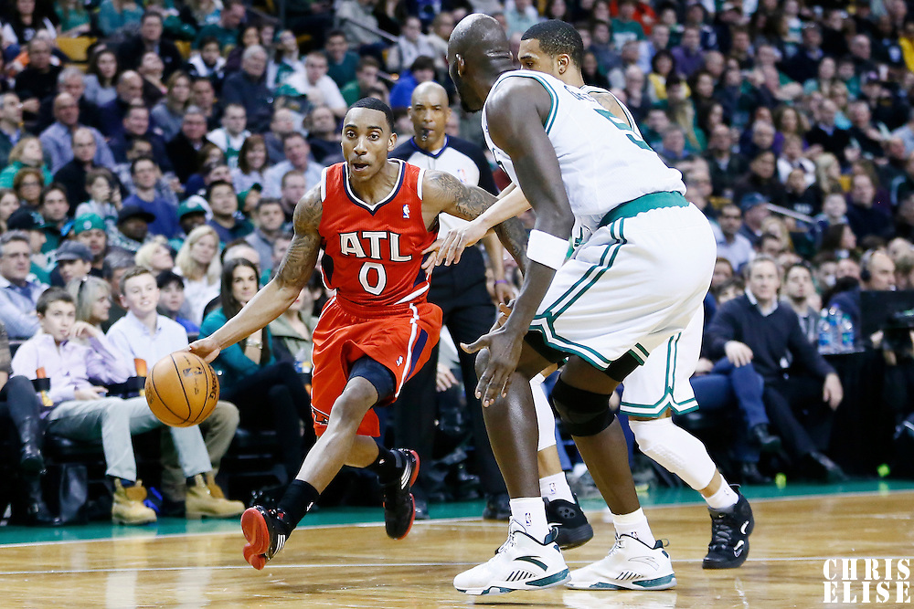 08 March 2013: Atlanta Hawks point guard Jeff Teague (0) drives past Boston Celtics shooting guard Courtney Lee (11) during the Boston Celtics 107-102 OT victory over the Atlanta Hawks at the TD Garden, Boston, Massachusetts, USA.