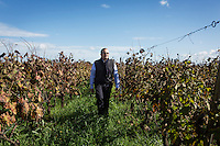 GUAGNANO, ITALY - 10 NOVEMBER 2016: Gianvito Rizzo (53), inventor of the sommelier courses at Lecce prison and chief executive officer at the Feudi di Guagnano, the wine cellar that offered their wines for the classes, walks in the vineyard of Leonardo di Prato of the wine house Feudi di San Guaganano, where the Negramaro wine is produced, in Guagnano near Lecce, Italy, on November 10th 2016.<br /> <br /> Here a group of ten high-security female inmates and aspiring sommeliers , some of which are married to mafia mobsters or have been convicted for criminal association (crimes carrying up to to decades of jail time), are taking a course of eight lessons to learn how to taste, choose and serve local wines.<br /> <br /> The classes are part of a wide-ranging educational program to teach inmates new professional skills, as well as help them develop a bond with the region they live in.<br /> <br /> Since the 1970s, Italian norms have been providing for reeducation and a personalized approach to detention. However, the lack of funds to rehabilitate inmates, alongside the chronic overcrowding of Italian prisons, have created a reality of thousands of incarcerated men and women with little to do all day long. Especially those with a serious criminal record, experts said, need dedicated therapy and professionals who can help them.