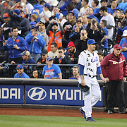 Pitcher Matt Harvey, New York Mets, walking to the dugout before the New York Mets Vs Philadelphia Phillies MLB regular season baseball game at Citi Field, Queens, New York. USA. 14th April 2015. Photo Tim Clayton