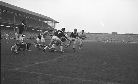 All Ireland Senior Football Championship Final, Dublin v Galway, 22.09.1963, 09.23.1963, 22nd September 1963, Dublin 1-9 Galway 0-10,..Colleran, Galway (No.2) and team-mate McDonagh have this ball safe as Dublin forwards players Ferguson and Timmons advance ,..