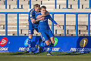 Curzon Ashton forward Adam Morgan (7) scores a goal and celebrates to make the score 1-0 during the The FA Cup match between Curzon Ashton and AFC Wimbledon at Tameside Stadium, Ashton Under Lyne, United Kingdom on 4 December 2016. Photo by Simon Davies.