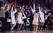LAS VEGAS, NV - MARCH 10:  A.J. Harris #12 and the New Mexico State Aggies bench celebrate after Harris hit a 3-pointer late in the second half against the Grand Canyon Lopes during the championship game of the Western Athletic Conference basketball tournament at the Orleans Arena on March 10, 2018 in Las Vegas, Nevada. New Mexico State won 72-58.  (Photo by Sam Wasson/Getty Images)