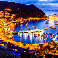 Catalina Island at night picture. Santa Catalina Island Avalon Bay at night from above with the Avalon Casino, Avalon Pier, Holly Hill House, and the Avalon waterfront along the Pacific Ocean.