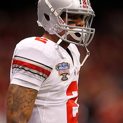 January 4, 2011; New Orleans, LA, USA;  Ohio State Buckeyes quarterback Terrelle Pryor (2) on the field prior to kickoff of the 2011 Sugar Bowl against the Arkansas Razorbacks at the Louisiana Superdome.  Mandatory Credit: Derick E. Hingle