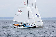 _V0A8094. ©2014 Chip Riegel / www.chipriegel.com. The 2014 Bullseye Class National Regatta, Fishers Island, NY, USA, 07/19/2014. The Bullseye is a Nathaniel Herreshoff designed 15' Marconi rig sailing boat.