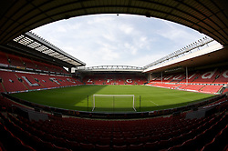The view of the Anfield pitch from the Anfield Road Lower Stand.