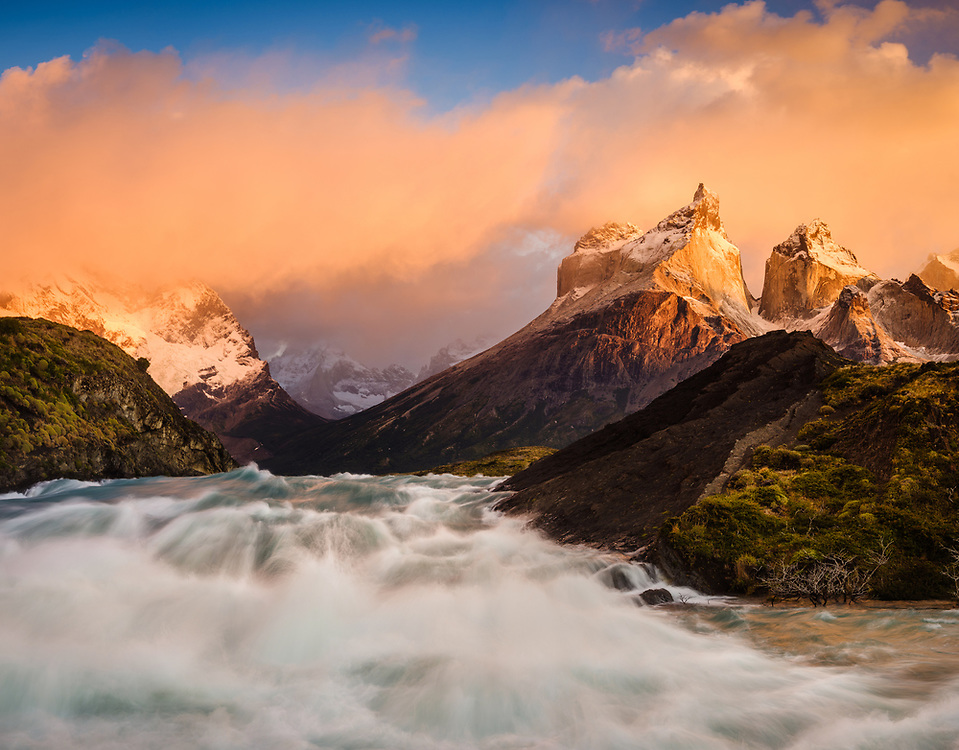 NATIONAL PARK TORRES DEL PAINE, CHILE - CIRCA FEBRUARY 2019:  Sunrise over Salta Grande Waterfall in Torres del Paine National Park, Chile.