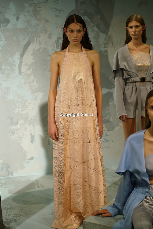 London England,UK: 17th September 2016: Model wearing Milo Maria Spring Summer 2017 lastest collcetion showcases at the HPR London - LFW Shows in London. Photo by See Li