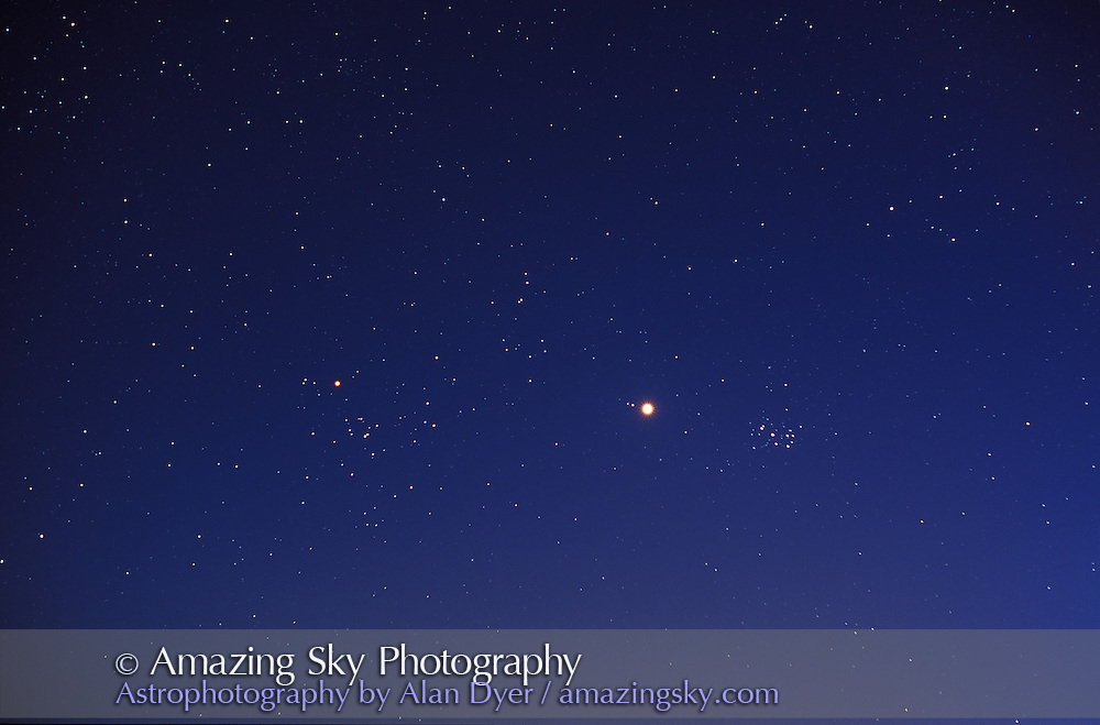 Venus between Hyades and Pleiades star clusters, in evening twilight sky<br /> <br /> April 14, 1999<br /> 58mm lens Nikkor Noct at f/2