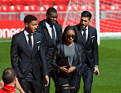 LIVERPOOL, ENGLAND - Sunday, April 10, 2016: Liverpool's Joe Gomez, Christian Benteke and Emre Can arrive before the Premier League match against Stoke City at Anfield. (Pic by David Rawcliffe/Propaganda)